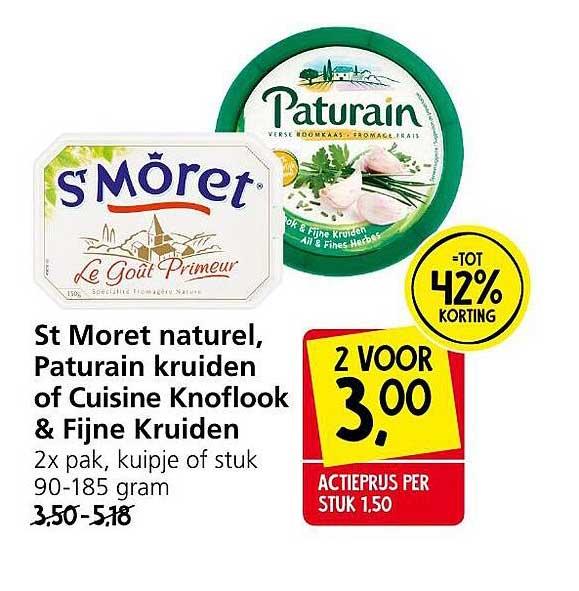 Jan Linders St Moret Naturel, Paturain Kruiden Of Cuisine Knoflook & Fijne Kruiden Tot 42% Korting