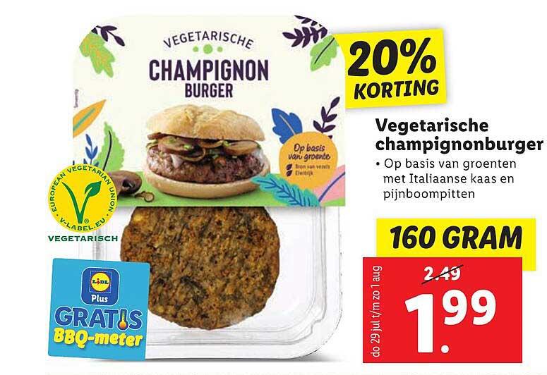 Lidl Vegetarische Champignonburger 20% Korting