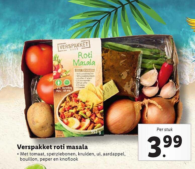 Lidl Verspakket Roti Masala Met Tomaat, Sperziebonen, Kruiden, Ui, Aardappel, Bouillon, Peper En Knoflook