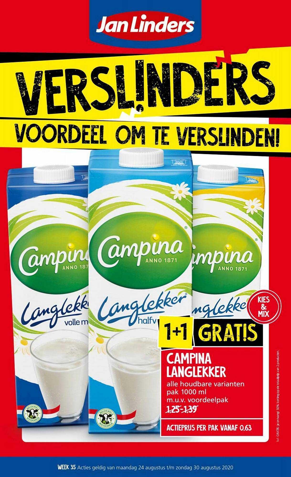 Jan Linders Campina Langlekker 1+1 Gratis