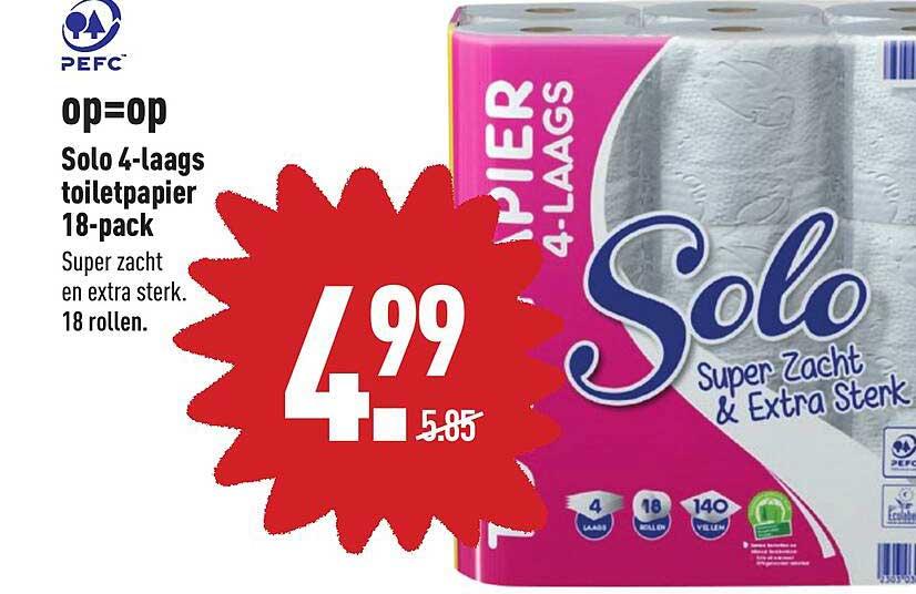 ALDI Solo 4-Laags Toiletpapier 18-Pack