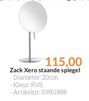 Sanitairwinkel Zack Xero Staande Spiegel