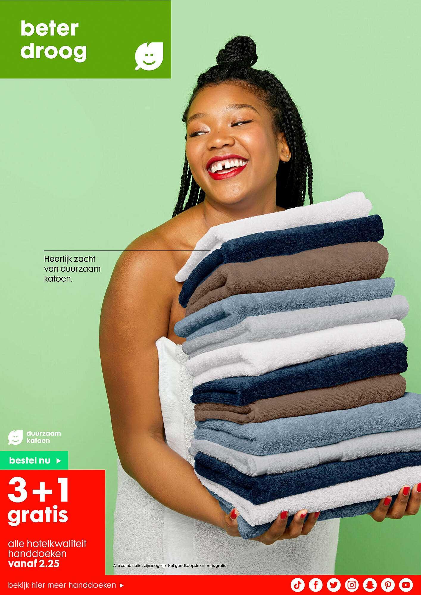 HEMA Alle Hotelkwaliteit Handdoeken 3+1 Gratis