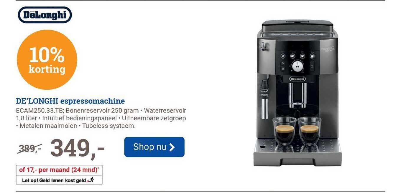 BCC De'Longhi Espressomachine ECAM250.33.TB 10% Korting