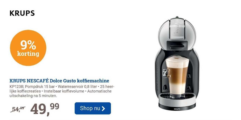 BCC Krups Nescafé Dolce Gusto Koffiemachine KP123B 9% Korting