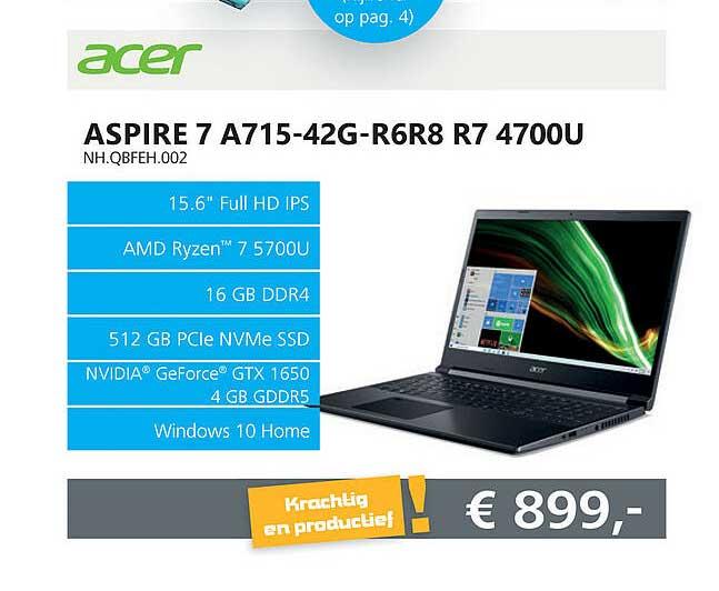 Informatique Acer Aspire 7 A715-42G-R6R8 R7 4700U NH.QBFEH.002 Laptop