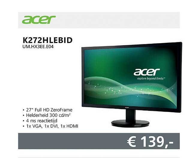 Informatique Acer K272HLEBID UM.HX3EE.E04 Monitor