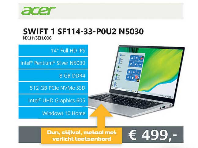 Informatique Acer Swift 1 SF114-33-P0U2 N5030 NX.HYSEH.006 Laptop