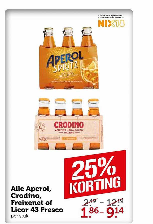 Coop Alle Aperol, Crocodino, Freixenet Of Licor 43 Fresco 25% Korting