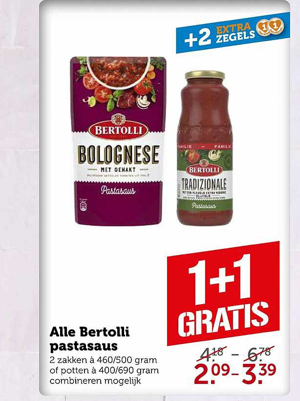 Coop Alle Bertolli Pastasaus 1+1 Gratis