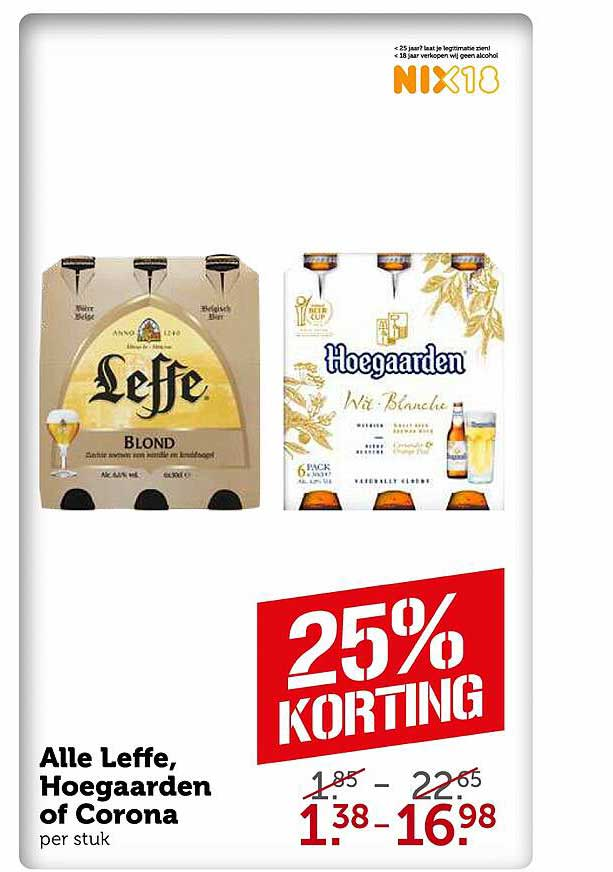 Coop Alle Leffe, Hoegaarden Of Corona 25% Korting