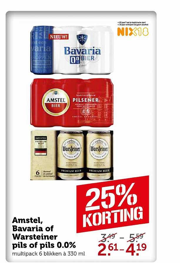 Coop Amstel, Bavaria Of Warsteiner Pils Of Pils 0.0% 25% Korting