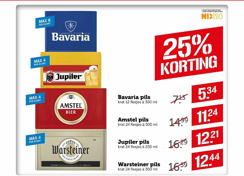 Coop Bavaria Pils, Amstel Pils, Jupiler Pils Of Warsteiner Pils 25% Korting