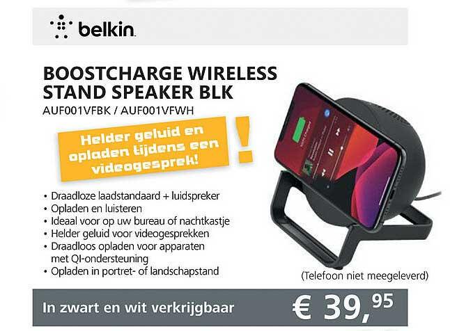 Informatique Belkin Boostcharge Wireless Stand Speaker BLK AUF001VFBK - AUF001VFWH