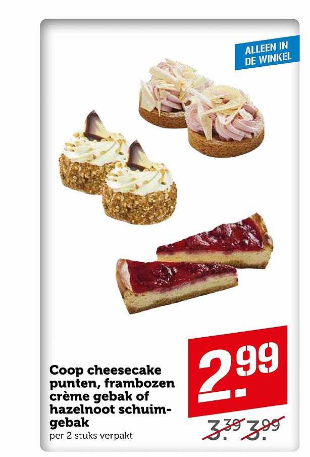 Coop Coop Cheesecake Punten, Frambozen Crème Gebak Of Hazelnoot Schuimgebak