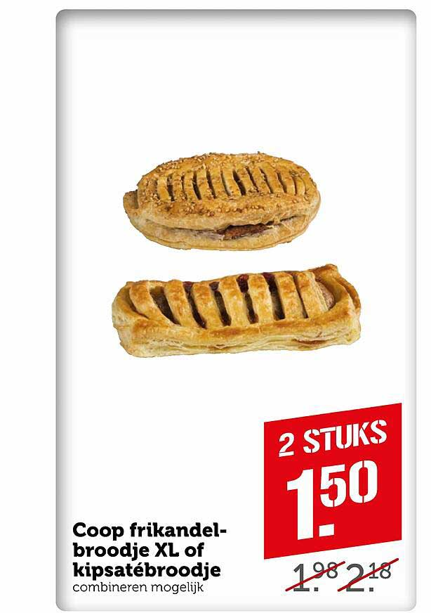 Coop Coop Frikandelbroodje XL Of Kipsatébroodje