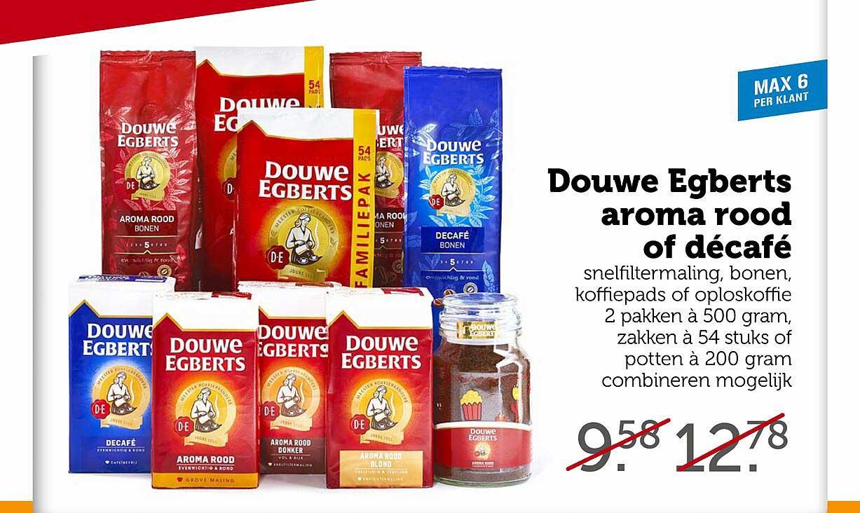 Coop Douwe Egberts Aroma Rood Of Décafé Snelfiltermaling, Bonen, Koffiepads Of Oploskoffie