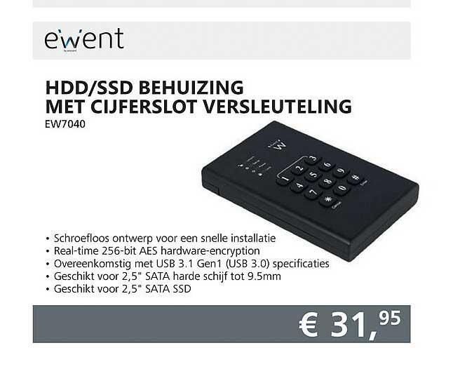 Informatique Ewent HDD-SSD Behuizing Met Cijferslot Versleuteling EW7040