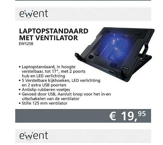 Informatique Ewent Laptopstandaard Met Ventilator EW1258