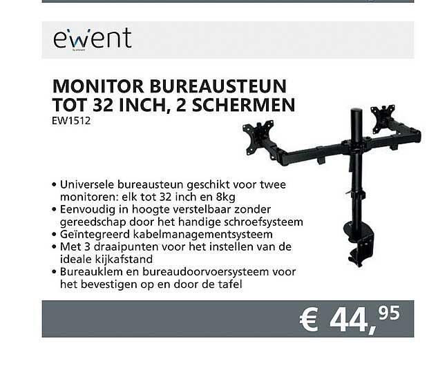 Informatique Ewent Monitor Bureausteun Tot 32 Inch, 2 Schermen
