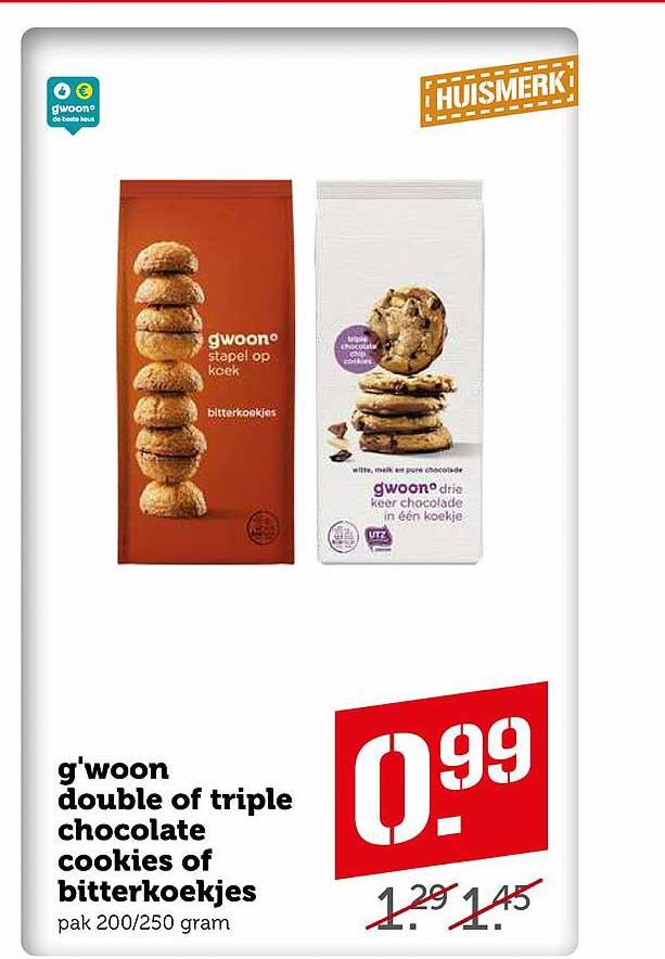 Coop G'woon Double Of Triple Chocolate Cookies Of Bitterkoekjes