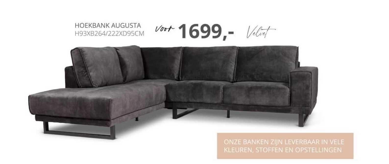 De Bommel Meubelen Hoekbank Augusta H93xB264-222xD95cm