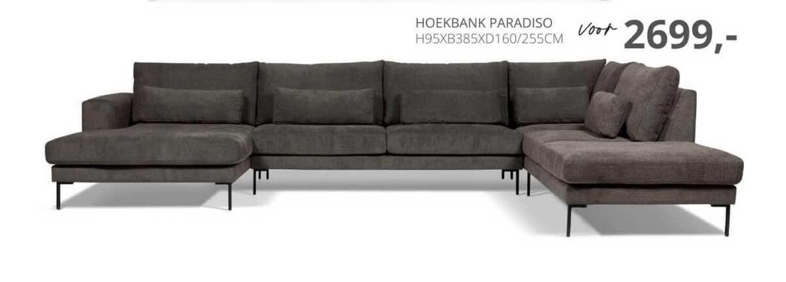De Bommel Meubelen Hoekbank Paradiso H95xB385xD160-255cm