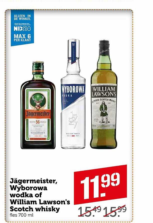 Coop Jägermeister, Wyborowa Wodka Of William Lawson's Scotch Whisky