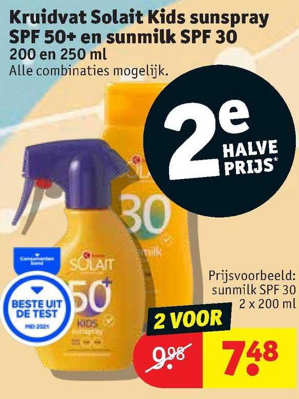 Kruidvat Kruidvat Solait Kids Sunspray SPF 50+ En Sunmilk SPF 30