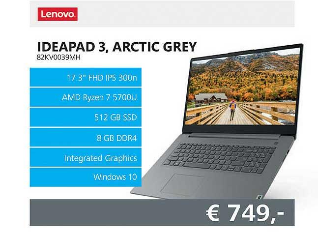 Informatique Lenovo Ideapad 3, Arctic Grey 82KV0039MH Laptop