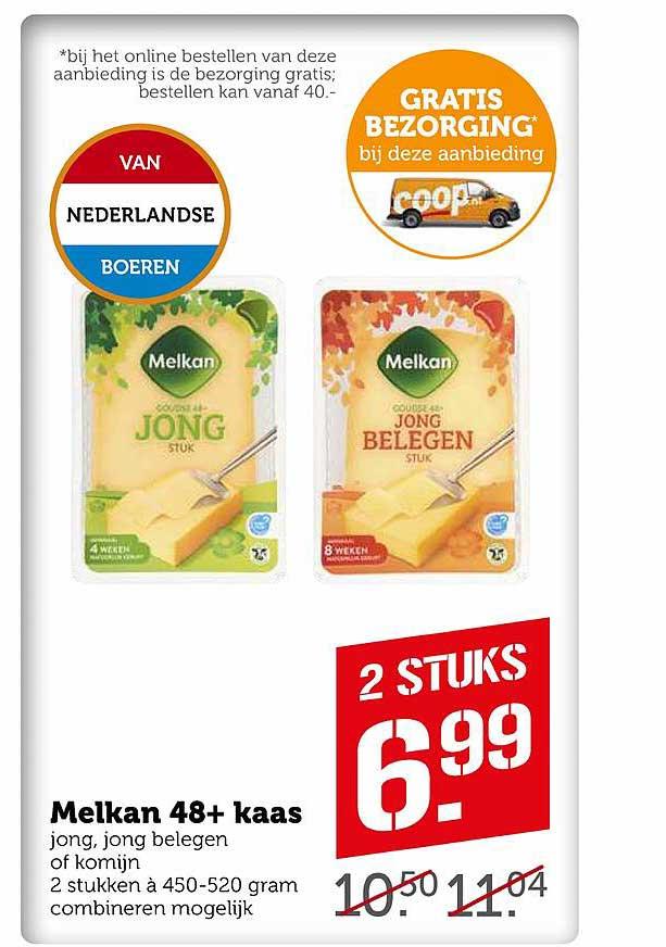 Coop Melkan 48+ Kaas Jong, Jong Belegen Of Komijn