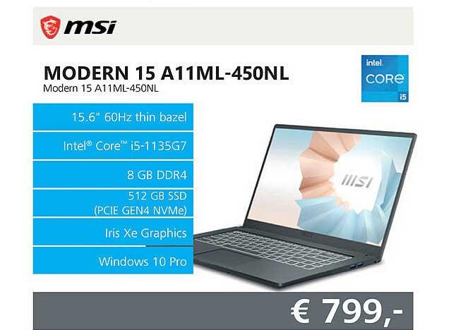 Informatique MSI Modern 15 A11ML-450NL Laptop