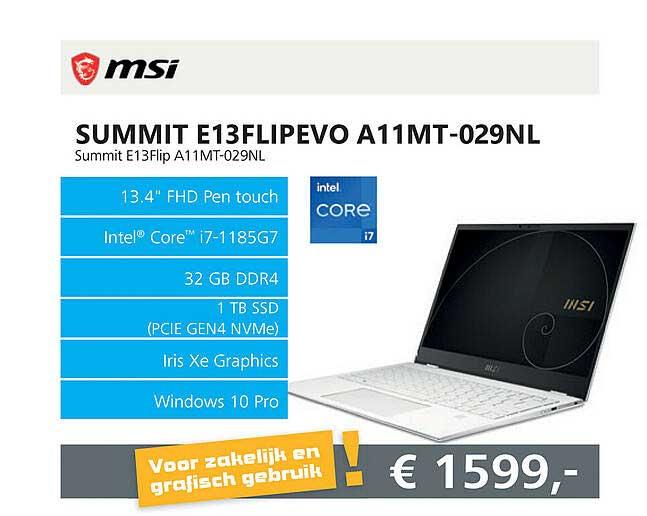 Informatique MSI Summit E13FLIPEVO A11MT-029NL Laptop