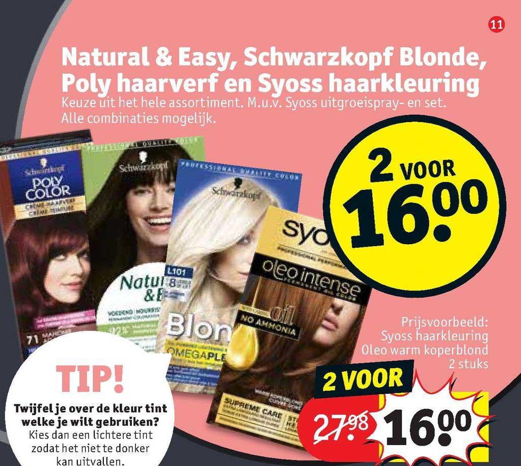Kruidvat Natural & Easy, Schwarzkopf Blonde, Poly Haarverf En Syoss Haarkleuring
