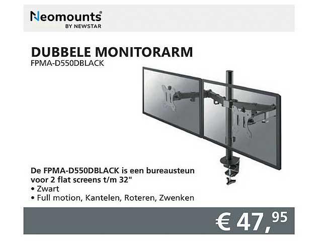 Informatique Neomounts Dubbele Monitorarm FPMA-D550DBlack