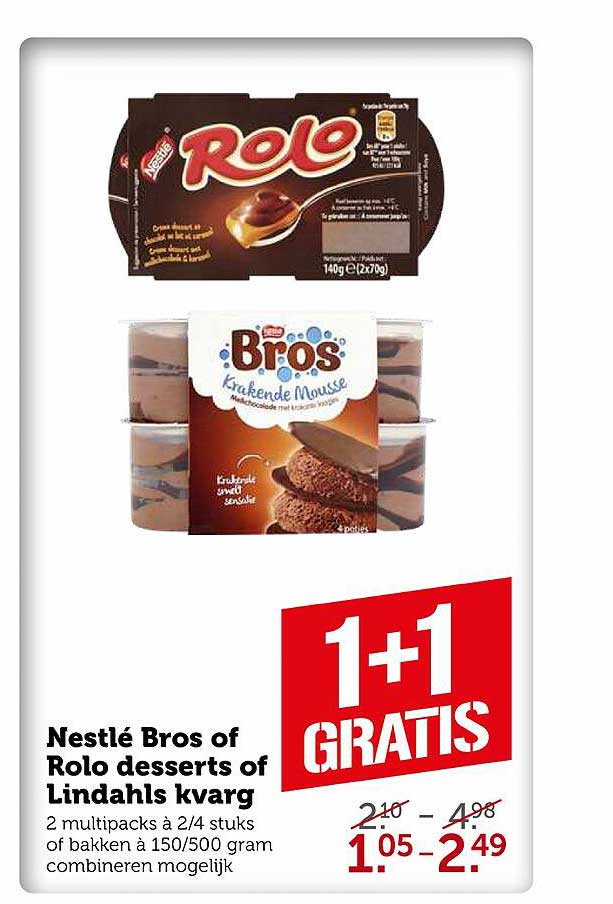 Coop Nestlé Bros Of Rolo Desserts Of Lindhals Kvarg 1+1 Gratis