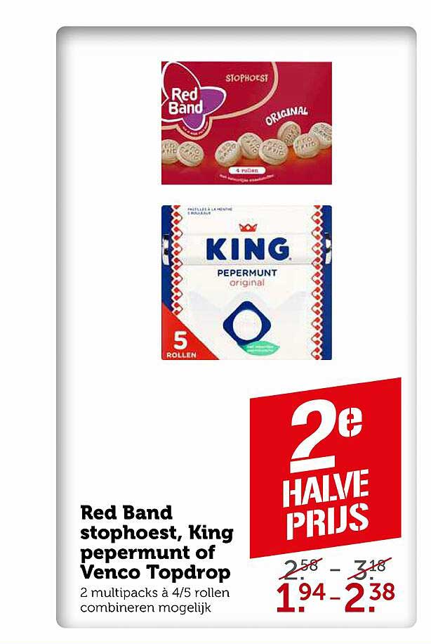 Coop Red Band Stophoest, King Pepermunt Of Venco Topdrop
