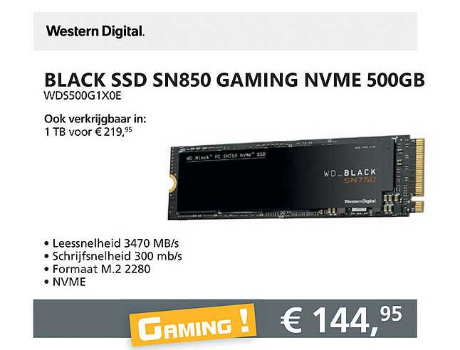 Informatique Western Digital Black SSD SN850 Gaming NVME 500GB WDS500G1X0E