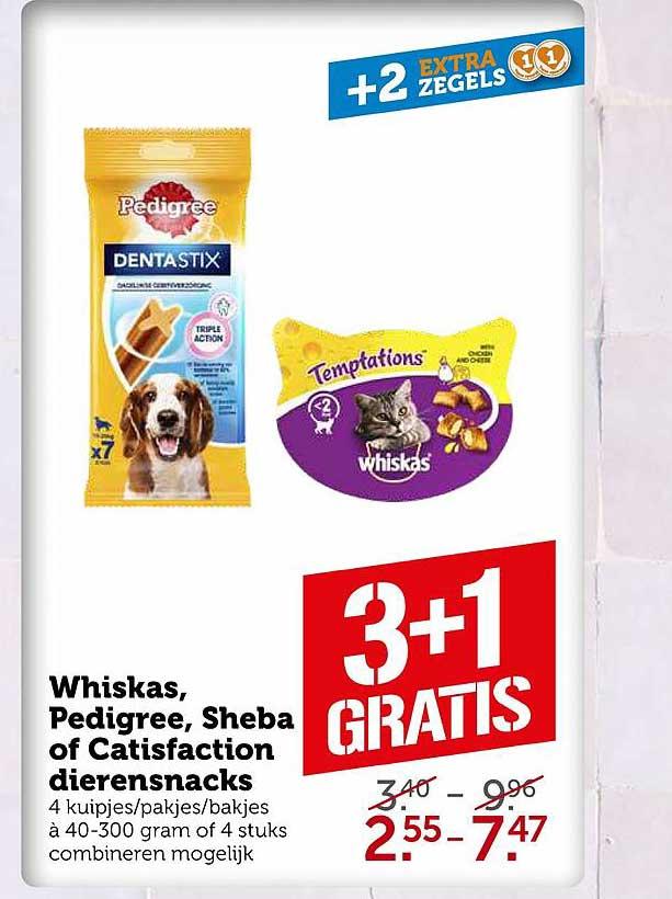 Coop Whiskas, Pedigree, Sheba Of Catisfaction Dierensnacks 3+1 Gratis