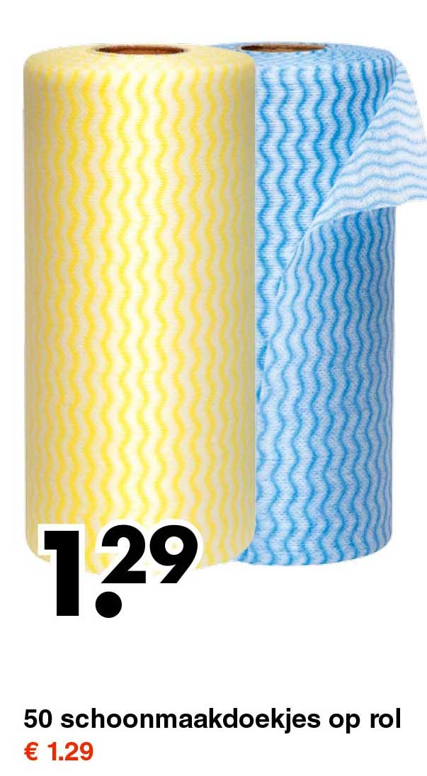 Wibra 50 Schoonmaakdoekjes Op Rol