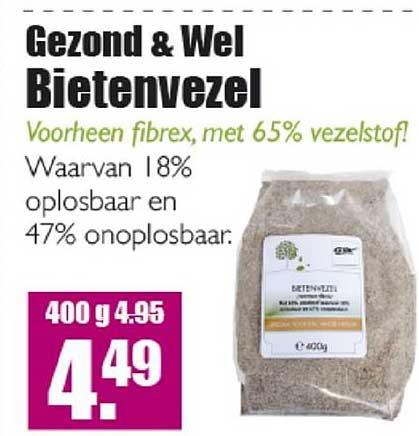 Gezond & Wel Gezond & Wel Bietenvezel Voorheen Fibrex Met 65% Vezelstof