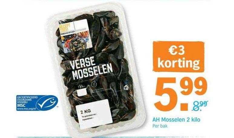 Albert Heijn Ah Mosselen 2 Kilo: €3,- Korting