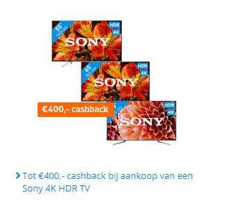 Coolblue Tot €400,- Cashback Bij Aankoop Van Een Sony 4K HDR Tv