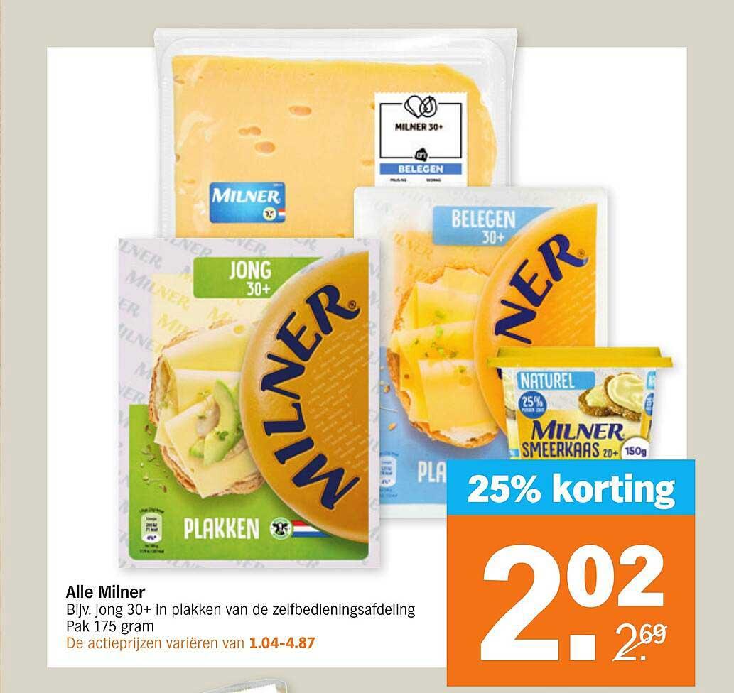 Albert Heijn Alle Milner 25% Korting