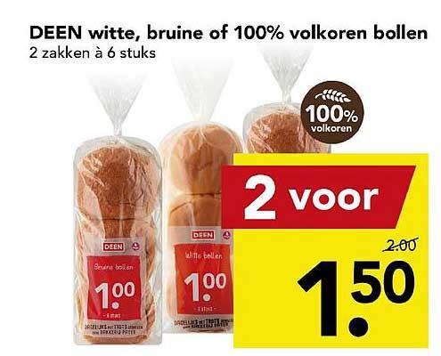 DEEN Deen Witte, Bruine Of 100% Volkoren Bollen