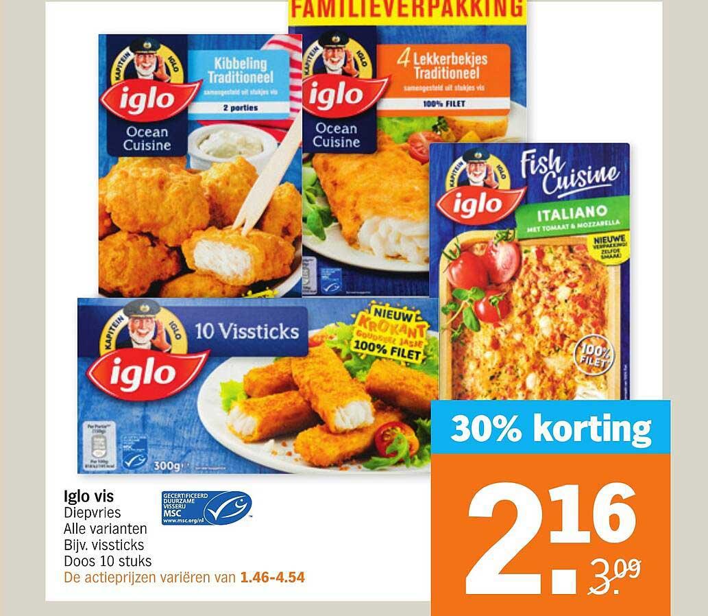 Albert Heijn Iglo Vis Diepvries 30% Korting