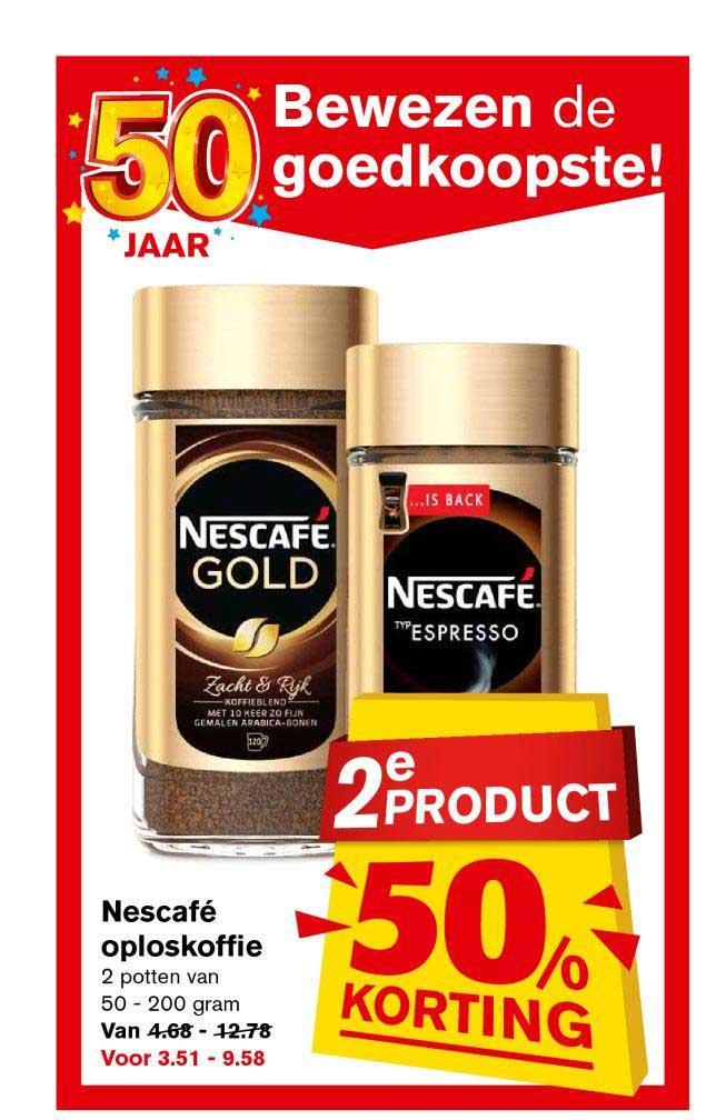 Hoogvliet Nescafe Oploskoffie: 2e Product 50% Korting