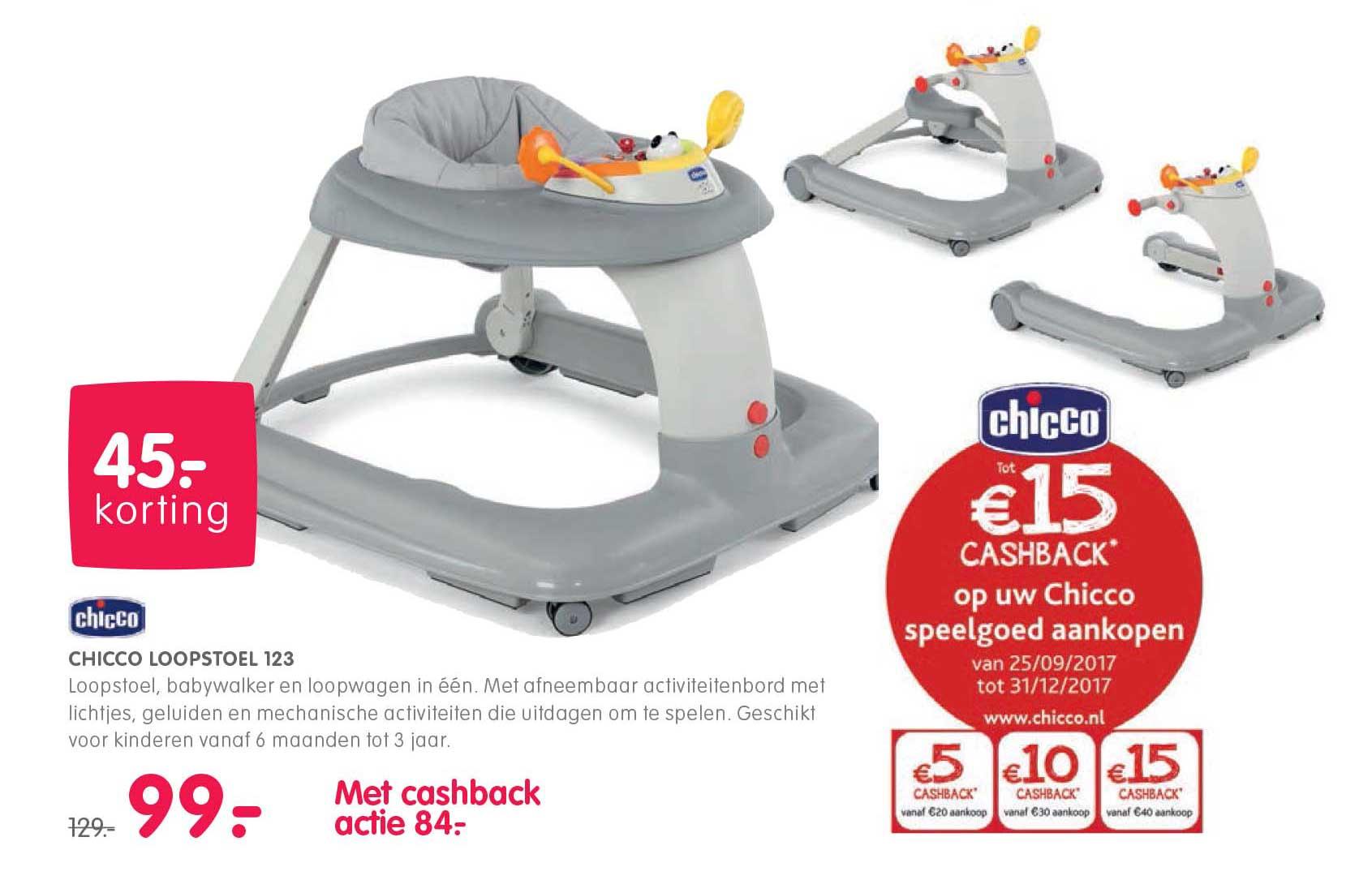Prénatal Chicco Loopstoel 123: €45,- Korting