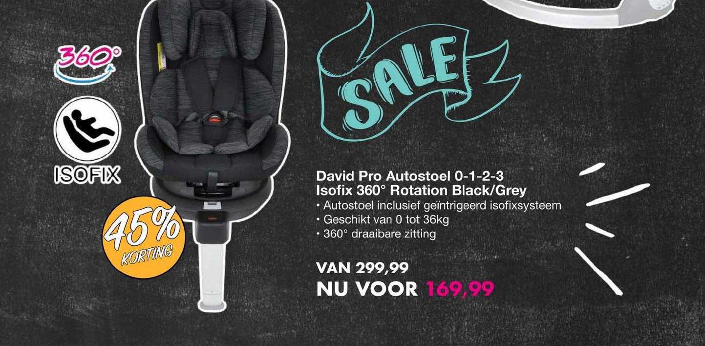 Van Asten David Pro Autostoel 0-1-2-3 Isofix 360 Rotation Black-Grey 45% Korting