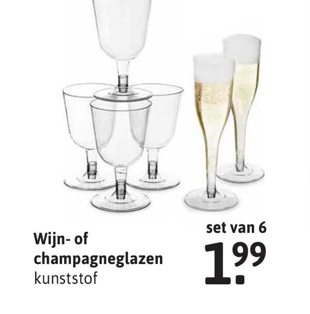 Xenos Wijn- Of Champagneglazen Kunststof Set Van 6